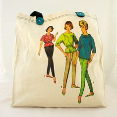 1960s Sewing Pattern totes These cotton canvas bags feature chic models from vintage sewing patterns. The perfect mid-century accessory for toting all your fashionable finds. Three different designs are available. $38.00