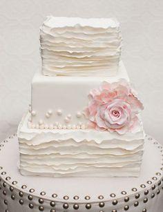 Ruffled White and Pink Cake