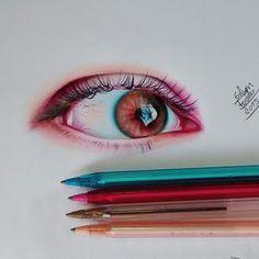 Eyes Artwork, Pencil Drawings, Colored Pencils, Watercolor, Inspiration, Star, Pen Drawings, Color Pencil Sketch, Ballpoint Pen Art