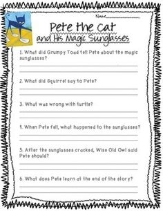 Pete The Cat I Love My White Shoes Comprehension Questions