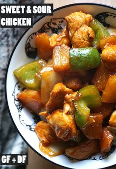 A quick and easy sweet and sour chicken recipe combining yummy pineapple, bell pepper and Chinese flavours {homemade gluten free Chinese takeaway} Easy Chinese Chicken Recipes, Chinese Dishes Recipes, Authentic Chinese Recipes, Asian Recipes, Healthy Recipes, Ethnic Recipes, Gluten Free Chinese Food, Gluten Free Recipes For Dinner, Foods With Gluten
