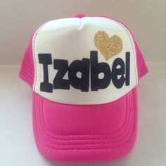 Kids Trucker Hat Custom name hat glitter girls personalized hat with glitter heart hipster kids surfer hat baseball hat girls birthday hat