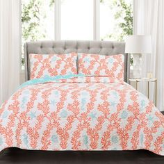 Lush Decor Dina Coral 3 Piece Quilt Set, Full/Queen, 0 * Read more at the image link. (This is an affiliate link) King Quilt Sets, Queen Quilt, Coral Bedding Sets, Classic Bedding Sets, Lush, Shabby, Blue Quilts, Coral Blue, Coral Top