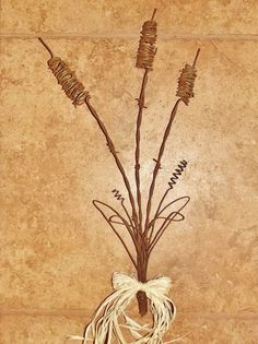 Barbed wire Cattails rustic fall country wall art decor floral sculpture. $12.95 http://www.ebay.com/itm/Barbed-wire-Cattails-rustic-fall-country-wall-art-decor-floral-sculpture-/261930503170?ssPageName=STRK:MESE:IT