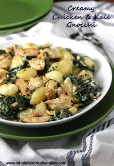 Creamy Chicken and Kale Gnocchi - amazing!! and easy to make.