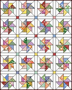 Love this quilt block pattern. Pinwheel 8 at Quilters Cache. Free Pattern - Pinwheel by Marcia Hohn Just enlarge the block or add enough blocks to make larger. Olivia and Philip quilt with fabric some fancy pinwheels. Star Quilts, Scrappy Quilts, Quilt Blocks, Quilting Tutorials, Quilting Projects, Quilting Designs, Quilt Patterns Free, Pattern Blocks, Free Pattern