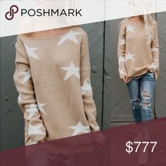 "✨Distressed Sweater with Stars✨ IN STOCK: Plush, cozy distressed sweater with stars. Poly• Acrylic•Nylon blend. Perfect for chilly days🌬Keeps you warm while looking hot!🔥  Sm•    20""W Flat         Med•  21""W Flat Lg•     22""W Flat   💢Want a cozier fit? Size up💢  Posh rules please• No offers• Thanks for looking! Glamvault Sweaters"