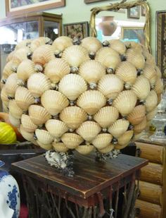 """Here are TWO VINTAGE SEASHELL ENCRUSTED PLANTERS , the larger planter has three shells which act as """"legs"""" and measures about 19 1/2"""" tall b..."""