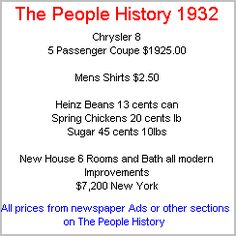 1932 History, events, news popular culture from 1932, technology advances part of the Depression Years Of The Thirties   history More Prices available for 1932 From Cars, Food, Clothes, Homes, Elecrical Sections Of The People History
