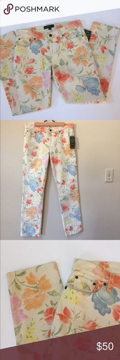 """HPNWT Ralph Lauren floral straight leg jeans NWT Ralph Lauren floral straight leg jeans. Size 8. Approximate length is 37"""", approximate inseam is 28.5"""" and approximate waist measurement is 16.5"""". Lauren Ralph Lauren Jeans Straight Leg"""