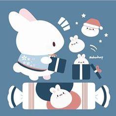 Hope everyone had a nice Halloween! Now that November is here, I gotta get crackin for the holidays 🎅 Art Kawaii, Cute Kawaii Drawings, Cute Animal Drawings, Kawaii Anime, Cute Images, Cute Pictures, Bunny Drawing, Cute Kawaii Animals, Dibujos Cute