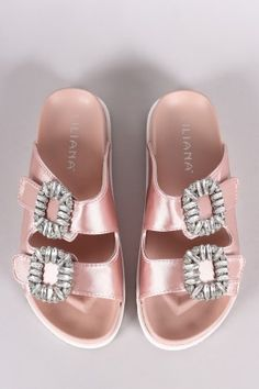 6a1b60881446 Liliana Satin Rhinestone Embellished Double Band Slide Sandal Cute Flats