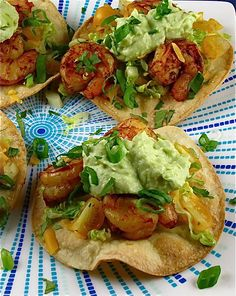 Avocado Crema Sauce over Shrimp Tostadas -=- from MissintheKitchen. Use Paleo tortillas