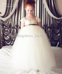 Cheap Girl Dresses - Discount Cap Sleeve Floor Length Square Tulle Skirts Flower Online with $79.36/Piece | DHgate