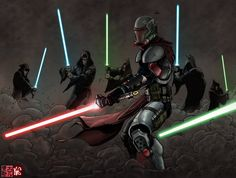 Because being a Mandalorian isn't over powered enough, you need to make him a Sith as well.