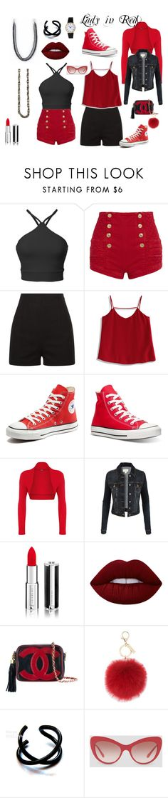 """""""Lady in Red"""" by princessmom113 ❤ liked on Polyvore featuring Pierre Balmain, Chicwish, Converse, WearAll, LE3NO, Givenchy, Lime Crime, Chanel, L.K.Bennett and Patek Philippe"""