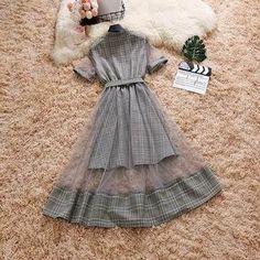 Mock Two-Piece Grid Summer Dress Cute Casual Outfits, Pretty Outfits, Pretty Dresses, Mode Kpop, Gauze Dress, Mesh Dress, Looks Chic, Lolita Dress, Skirt Outfits