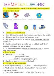 English Worksheets: remedial work for 7 formers