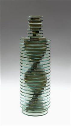 Handmade vase no.53 (from Plate glass vase series) by Sidney Hutter