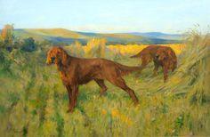 Arthur Wardle, RI (British, 1864-1949) Red Setters amongst the harvest 20 x 30in (51 x 76cm)
