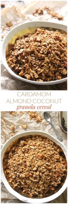 Cardamom Almond Coconut Granola Cereal // Crunchy, sweet, and bursting with warm, toasty flavor, this cardamom almond coconut granola cereal is a keeper! Not only is it easy to make, but it's also much healthier than storebought granola.