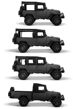 """ Icon, a company that completely rebuilds three classic off-road vehicles—the Ford Bronco, the Willys Jeep, and the Toyota Landcruiser—and updates them with modern mechanical and bespoke configurations."""