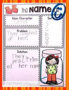 Theimaginationnook: The Name Jar and Short Vowel Necklace Kindergarten Writing, Kids Writing, Teaching Writing, Teaching Tools, Teaching Ideas, Comprehension Activities, Literacy Activities, Reading Strategies, The Name Jar