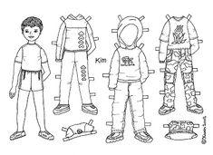 Karen`s Paper Dolls: Kim 1-3 Paper Doll to Colour. Kim 1-3 påklædningdukke til at farvelægge.