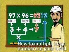 Large number multiplication (& other life hacks) 100 Life Hacks, Life Tips, Math Help, Homeschool Math, School Hacks, Teaching Math, Math Activities, Math Resources, Mind Blown