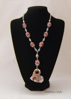 glass and polymer clay beads necklace