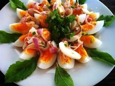 Thai food - boiled eggs with simple fish sauce   chili, shallots