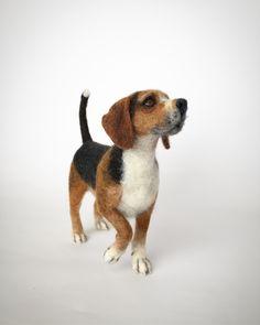 Needle felted Beagle, dog sculpture