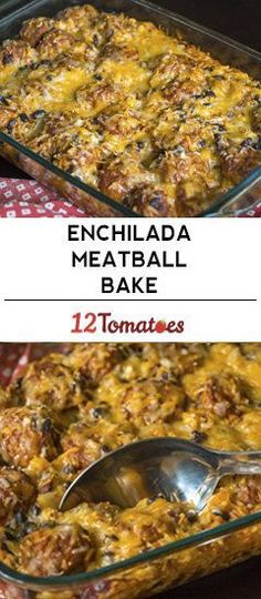 Cheesy Enchilada Meatball Casserole - Recipes I want to try! Meatball Casserole, Casserole Dishes, Casserole Recipes, Meat Recipes, Mexican Food Recipes, Cooking Recipes, Meatball Bake, Meatball Subs, Gourmet