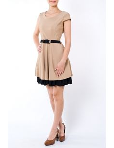 Rochie clos cu cordon in talie 1762 beige/negru Brand: Moda Fashion Cold Shoulder Dress, Dresses For Work, Beige, Fashion, Taupe, Moda, Fashion Styles, Fashion Illustrations