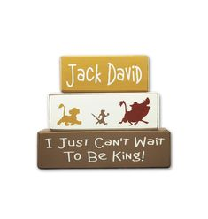 The Lion King Baby Shower, Lion Guard Birthday Party, stacking sign blocks can't wait to be king pumba, simba, timone personalized baby gift