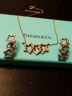 Tiffany & Co Sterling 18k Heart Between Stars Necklace and Clip On Set - 1990 Tiffany 750 Sterling Star Heart Link Necklace Earring Set by GranvilleGallery on Etsy