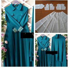 Abaya Fashion, Muslim Fashion, Fashion Dresses, Abaya Pattern, Gown Pattern, Kebaya Dress, Hijab Dress, Sewing Sleeves, Dress Making Patterns