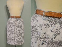 90's Soft Grunge White & Grey Floral Denim Jean High Waist Skirt with Blonde Brown Leather Belt Silver Buckle Size 10 M