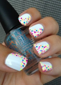 White w/ colored dots. Could probably be easily accomplished w/ a thinner/finer tipped paint brush (lord knows I have enough of those lying around) Beautiful nail art #design #polish #nail #nailart #art #polish #nailpolish #nails #women #girl #shine #style #trend #fashion  #pastel #color #colorful #colors