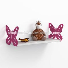 Green butterfly wall shelf Metal wall shelves for baby room decor