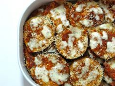 Easy Baked Eggplant Parmesan // This was really easy and quick to make. I only used 1 eggplant and adjusted the other // YUM!