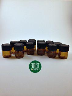 12 Amber Vials 5/8 Dram Amber Glass Vials with by PurestBotanicals