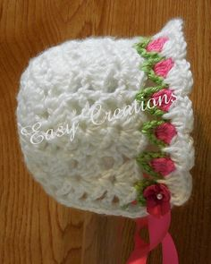 CROCHET PATTERN Baby Bonnet Tulip spring 0 to 9 by EasyCreations