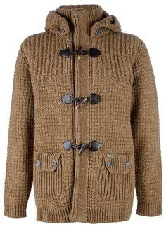 Bark Brown Knit Duffle Coat