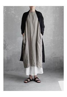 【送料無料】Joie de Vivreフレンチリネン草木染めギャザーポケットワンピース(ログウッド・梔子ブルー)