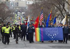 OUTVETS members and supporters marched in the 2015 St. Patrick's Day Parade in South Boston. OUTVETS, which has marched in the parade for two years, says it was not approved to march in this year's parade.