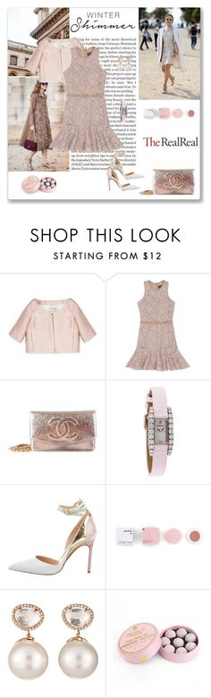 """Holiday Sparkle With The RealReal - 2"" by ludmyla-stoyan ❤ liked on Polyvore featuring Valentino, Lanvin, Chanel, Manolo Blahnik, Korres, Samira 13 and Charbonnel et Walker"