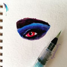 Cray-may is not really my thing but I can doodle it! #bandotodolist #watercolor #drawing #yearofcreativehabits #yoch2016 #painting #paint #eye #draw #koiwatercolors #pentechwaterbrush #sketch #sketchbook #draweveryday #create #acolorstory #abmlifeiscolorful #blueeyeshadow #makeup