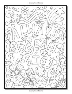 Live Your Dreams: An Adult Coloring Book with Fun Inspirational Quotes, Adorable Kawaii Doodles, and Positive Affirmations for Relaxation Detailed Coloring Pages, Love Coloring Pages, Printable Adult Coloring Pages, Coloring Books, Doodle Coloring, Free Coloring, Coloring Pages Inspirational, Inspirational Quotes, Stress Coloring Book