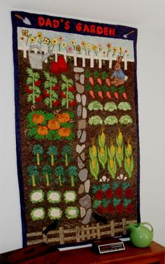 Dad's Garden. Hand hooked by Michele Phillips. A Patsy Becker design.